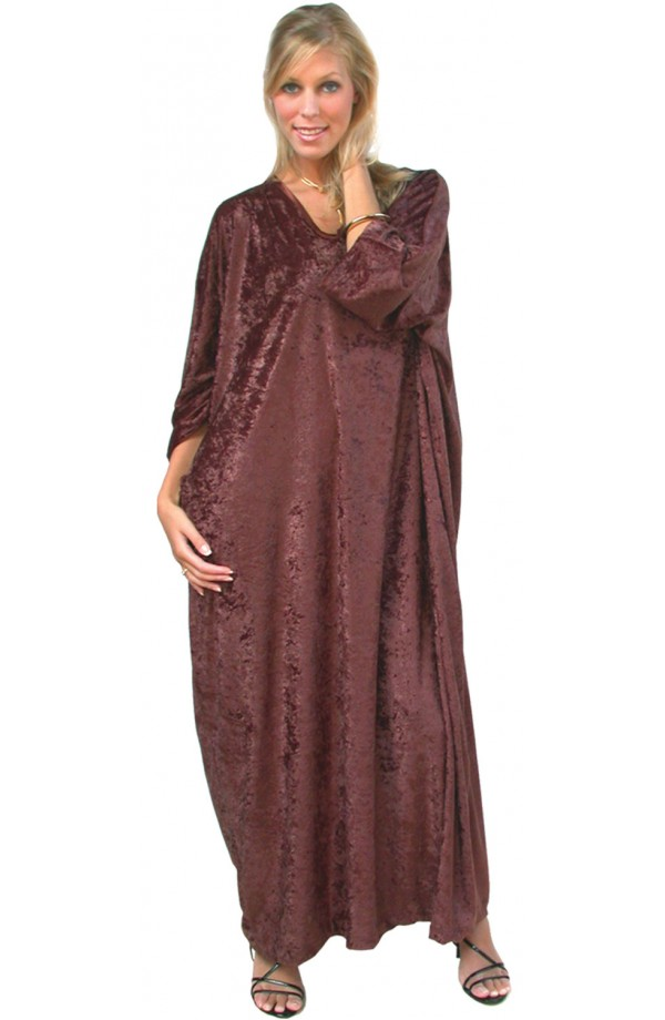 Knitted Velour Kaftan -Brown