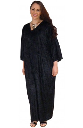 Knitted Velour Kaftan - Colour - Black