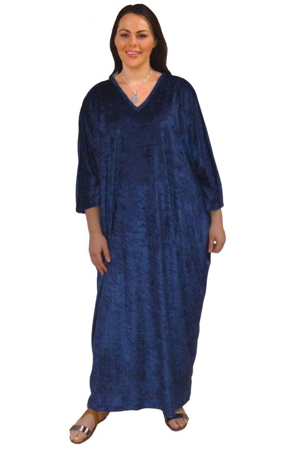 Knitted Velour Kaftan - French-navy