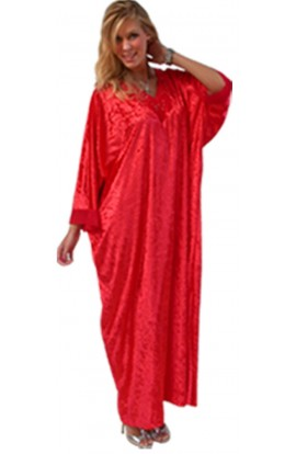 FRINGED NECK KAFTAN - RED