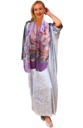 A SILVER VELOUR KAFTAN WITH FREE SCARF (limited)