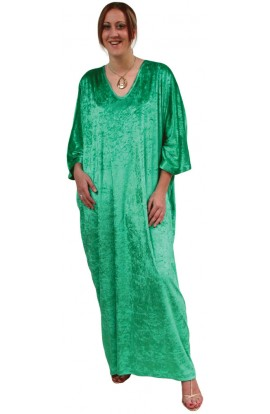 Knitted Velour Kaftan - Emerald-green
