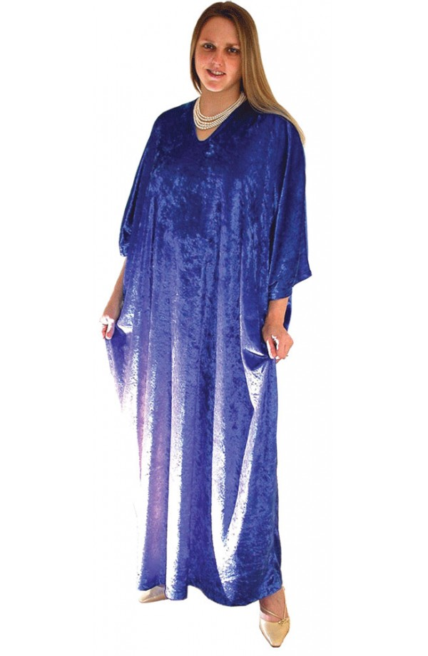 Knitted Velour Kaftan - Royal-Blue
