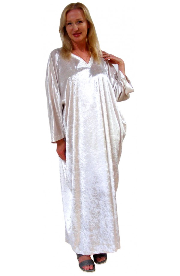Knitted Velour Kaftan - Winter-white