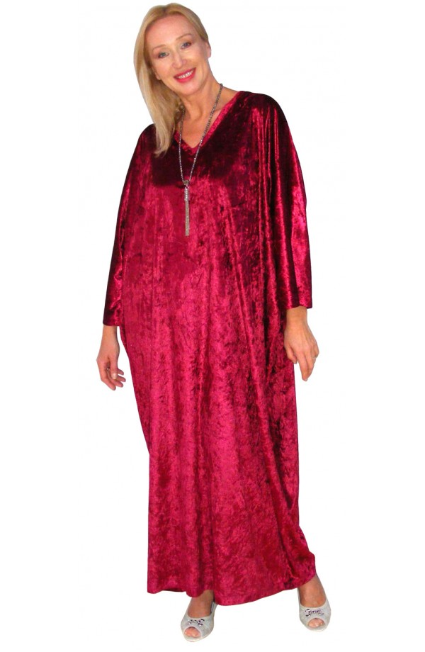 Knitted Velour Kaftan - Wine