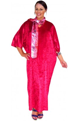 Knitted Velour Kaftan - Pomegranate