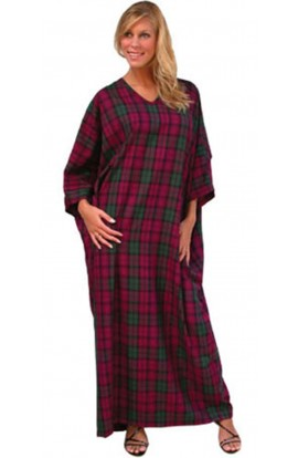 TARTAN KAFTAN IN MAGENTA AND GREEN CHECK