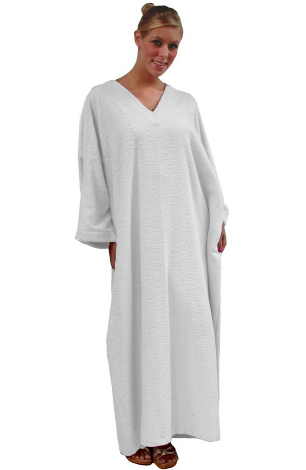 TOWELLING KAFTAN - COLOUR WHITE