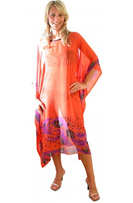 BEACH COVER-UP, CORAL