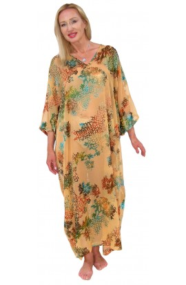 BEACH KAFTAN COVER-UP. GOLD