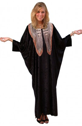 Knitted Velour Kaftan - Colour - Black with FREE SCARF