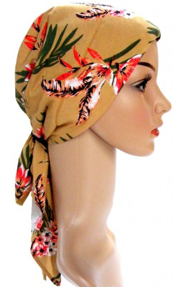 HEAD SCARF- PADDED  -  GOLD ORIENTAL DESIGN- free shipping