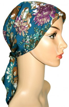 HEAD SCARF- PADDED  - PETROL-BLUE FLORAL DESIGN- free shipping