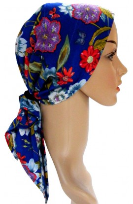 HEAD SCARF- PADDED  -  ROYAL-BLUE FLORAL- free shipping