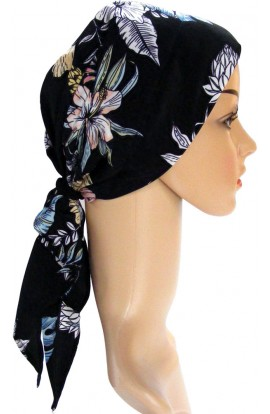 HEAD SCARF- PADDED  -  BLACK FLORAL- free shipping