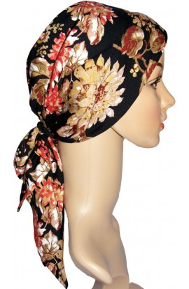HEAD SCARF- PADDED  - GOLD RED DESIGN ON BLACK- free shipping