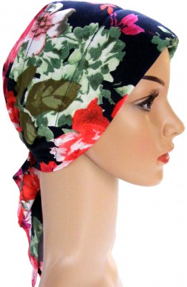 HEAD SCARF- PADDED  -  NAVY RED GREEN DESIGN- free shipping