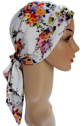 PADDED HEAD SCARF - WHITE FLORAL- free shipping
