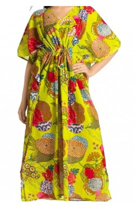 COTTON KAFTAN- YELLOW  DESIGN