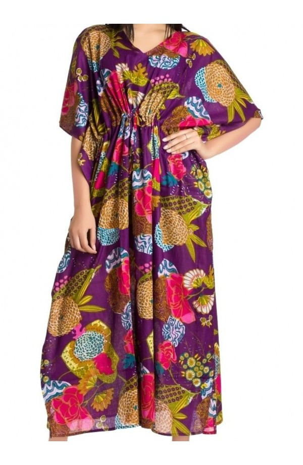COTTON KAFTAN- PURPLE DESIGN