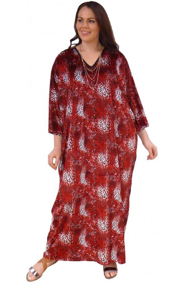 Knitted Printed Velour Kaftan - Red