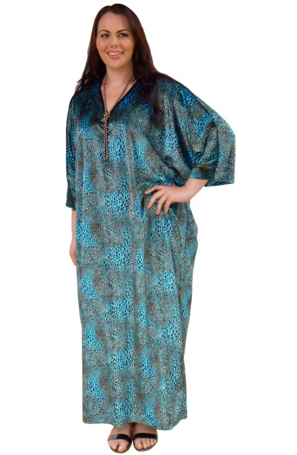 Knitted Printed Velour Kaftan - Turquoise