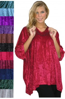 KAFTAN TOP IN CRUSHED VELOUR AVAILABLE IN TEN COLOURS