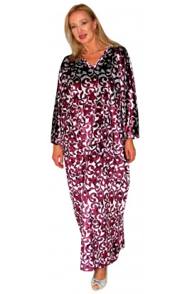 PRINTED VELOUR KAFTAN – AUBERGINE AND SILVER