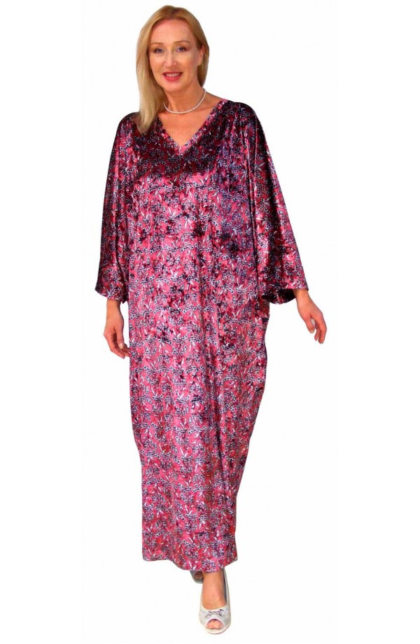 PRINTED VELOUR KAFTAN - SMALL FLORAL DESIGN ON AUBERGINE BACKGROUND