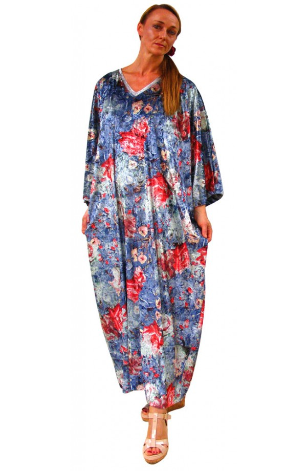 PRINTED VELOUR KAFTAN - SHY ROSE