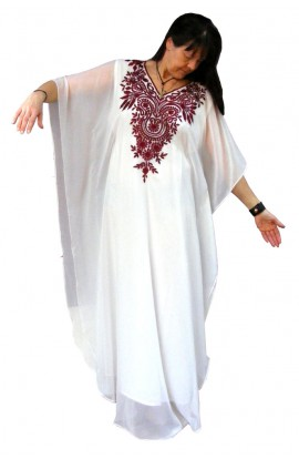 WHITE EMBROIDERED CHIFFON KAFTAN - ONE ONLY